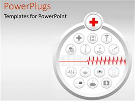 PowerPlugs: PowerPoint template with medical icons, heart monitor printout, health, wellness