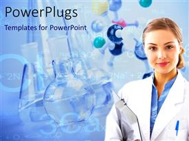 PowerPlugs: PowerPoint template with medical laboratory scientist with beakers and laboratory equipments in background
