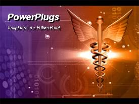 PowerPoint template displaying medical logo in brown color over digital background