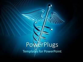 PowerPlugs: PowerPoint template with a medical related sign with bluish background and place for text