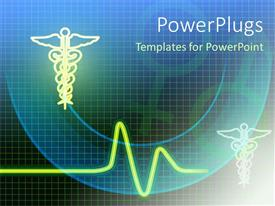 PowerPlugs: PowerPoint template with medical related symbols with heartbeat line and gender symbols on the green and blue with black background