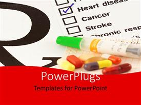 PowerPlugs: PowerPoint template with a numbe rof pills with a report in background