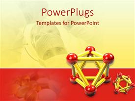 PowerPoint template displaying medical science with atoms, pills, researchers in scrubs