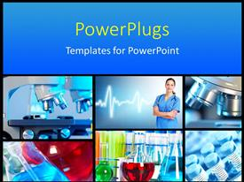 PowerPlugs: PowerPoint template with medical science collage depicting research and healthcare