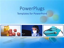 PowerPlugs: PowerPoint template with medical science collage with medication pills bottle, health care worker in  scrubs at computer, stethoscope with patient chart and pen