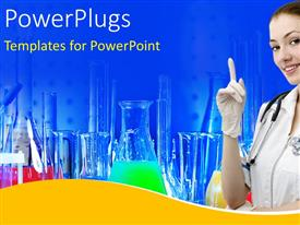 PowerPlugs: PowerPoint template with medical science equipment and beakers filled with chemicals in a laboratory with doctor in foreground