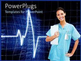 PowerPlugs: PowerPoint template with a medical staff with heartbeat line in the background