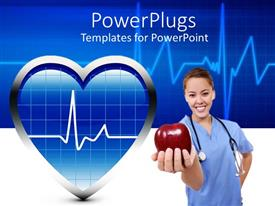 PowerPoint template displaying a medical staff holding an apple along with a heartbeat line in the background