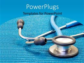 PowerPlugs: PowerPoint template with a medical stethoscope on blue examination mat