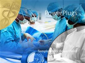 PowerPlugs: PowerPoint template with medical surgical team performing surgery operation, hospital, caduceus medical symbol