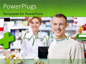 PowerPlugs: PowerPoint template with medical symbol attached to a mouse with pharmacist and the customer
