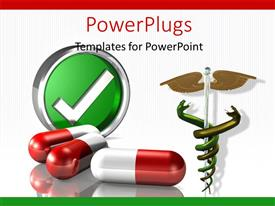 PowerPlugs: PowerPoint template with medical symbol with red and white colored capsule on white background