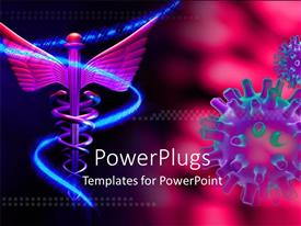 PowerPoint template displaying medical symbol and virus over pink background