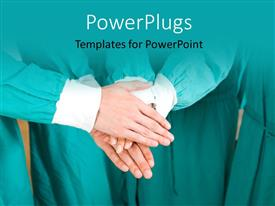 PowerPoint template displaying medical team put hands on top of each other in unity