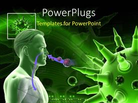 PowerPoint template displaying medical theme depicting humanoid having flu virus with green color