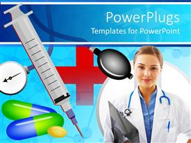 PowerPoint template displaying medical theme with doctor nurse with stethoscope and patients record, syringe with needle, medicine and capsules, blood pressure meter