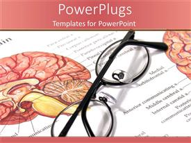 PowerPlugs: PowerPoint template with medical theme with eyeglasses on medical page with depiction of human brain with sections