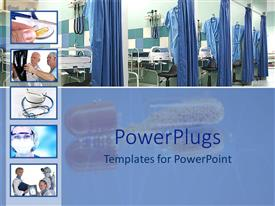 PowerPoint template displaying medical theme with five small depictions of doctors, pills, stethoscopes, x-ray, and hospital wards and opened capsule fading in the background