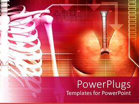 PowerPoint template displaying medical theme with human spine and lungs on abstract background