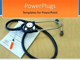 PowerPlugs: PowerPoint template with medical theme with stethoscope on prescription pad and syringe on wooden desk