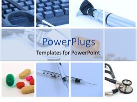 PowerPoint template displaying medical tools used in a hospital for health and vitality on a white background