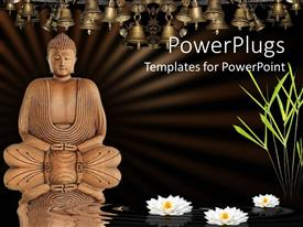 PowerPlugs: PowerPoint template with meditating Buddha with lotus flowers on water, bamboo grass and bells