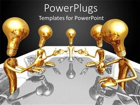 PowerPlugs: PowerPoint template with a meeting going on with blackish background