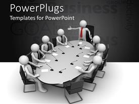 PowerPlugs: PowerPoint template with a meeting going on with the head of the meeting standing up