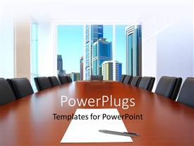 PowerPlugs: PowerPoint template with meeting room in front focus, sheet of paper and pen on table with buildings in background