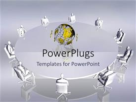 PowerPlugs: PowerPoint template with meeting table conference team work collaboration business planning world