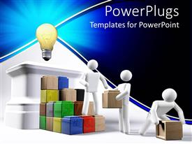 PowerPoint template displaying men arranging colored boxes as step to ligth bulb signifying bright idea