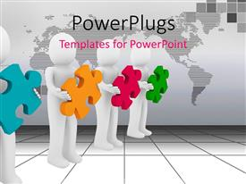 PowerPlugs: PowerPoint template with men confused with different color of puzzles as how to form them together
