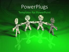 PowerPoint template displaying men made out of dollar bills holding hands over green background