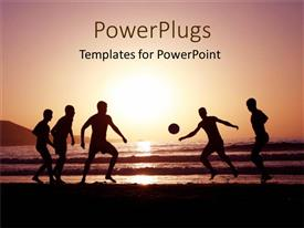 PowerPlugs: PowerPoint template with men playing football on the beach