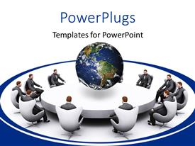 PowerPlugs: PowerPoint template with men seated round white conference table with earth globe centered on table