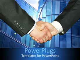 PowerPoint template displaying men shake hands with blue tall tower in background