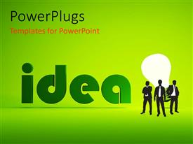 PowerPlugs: PowerPoint template with men standing before lighted bulb depicting bright ideas over green background