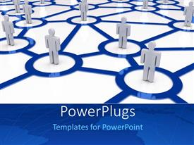 PowerPlugs: PowerPoint template with men standing in connected circles depicting business network
