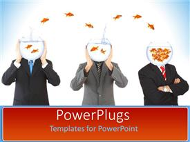 PowerPoint template displaying men in suit covers face with beaker filled with water and goldfish