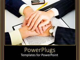 PowerPoint template displaying men in suits holding their hands over printed contract on white surface