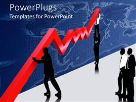 PowerPlugs: PowerPoint template with men in suits trying to lift huge graph curve with others watching