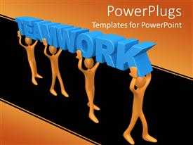 PowerPoint template displaying men walk in unison carrying 3D teamwork above heads