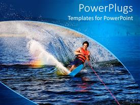 PowerPlugs: PowerPoint template with men water skiing forming splash of water and wave