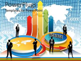 PowerPoint template displaying men and womensilhouettes surrounding various international business icons