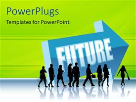 PowerPlugs: PowerPoint template with men and women walking with future written on an arrow