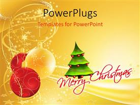 PowerPoint template displaying merry Christmas depiction with ornaments and decorated Christmas tree