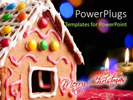 PowerPlugs: PowerPoint template with merry Christmas gingerbread house and burning candles