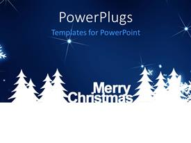 PowerPlugs: PowerPoint template with merry Christmas, snowflake on the blue background with sparkles