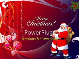 PowerPlugs: PowerPoint template with merry Christmas text with Santa carrying loads of gifts