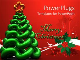 PowerPlugs: PowerPoint template with merry christmas written in text with cartoonish tree in front of the red background